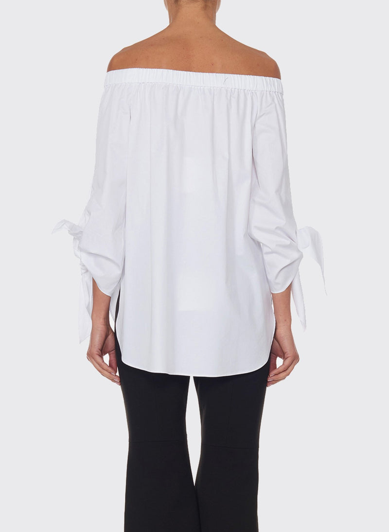 Satin Poplin Off-the-Shoulder Top White-7