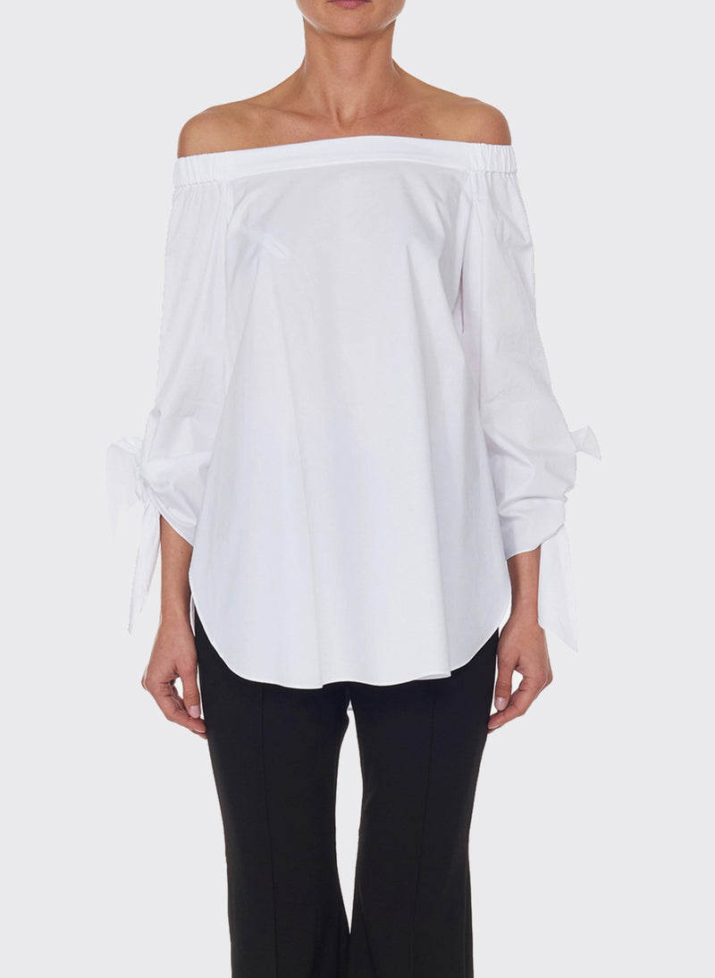 Satin Poplin Off-the-Shoulder Top White-6