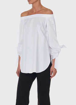 Satin Poplin Off-the-Shoulder Top White-8