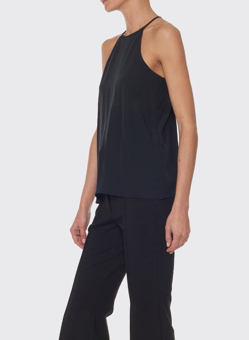 Silk Halter Cami Black-3