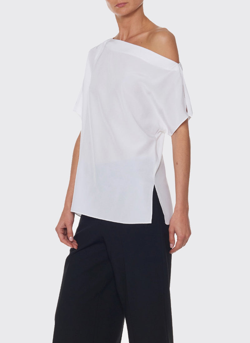 Silk Off-the-Shoulder Top Ivory-8