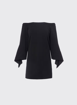Structured Crepe Off-the-Shoulder Dress Black-4