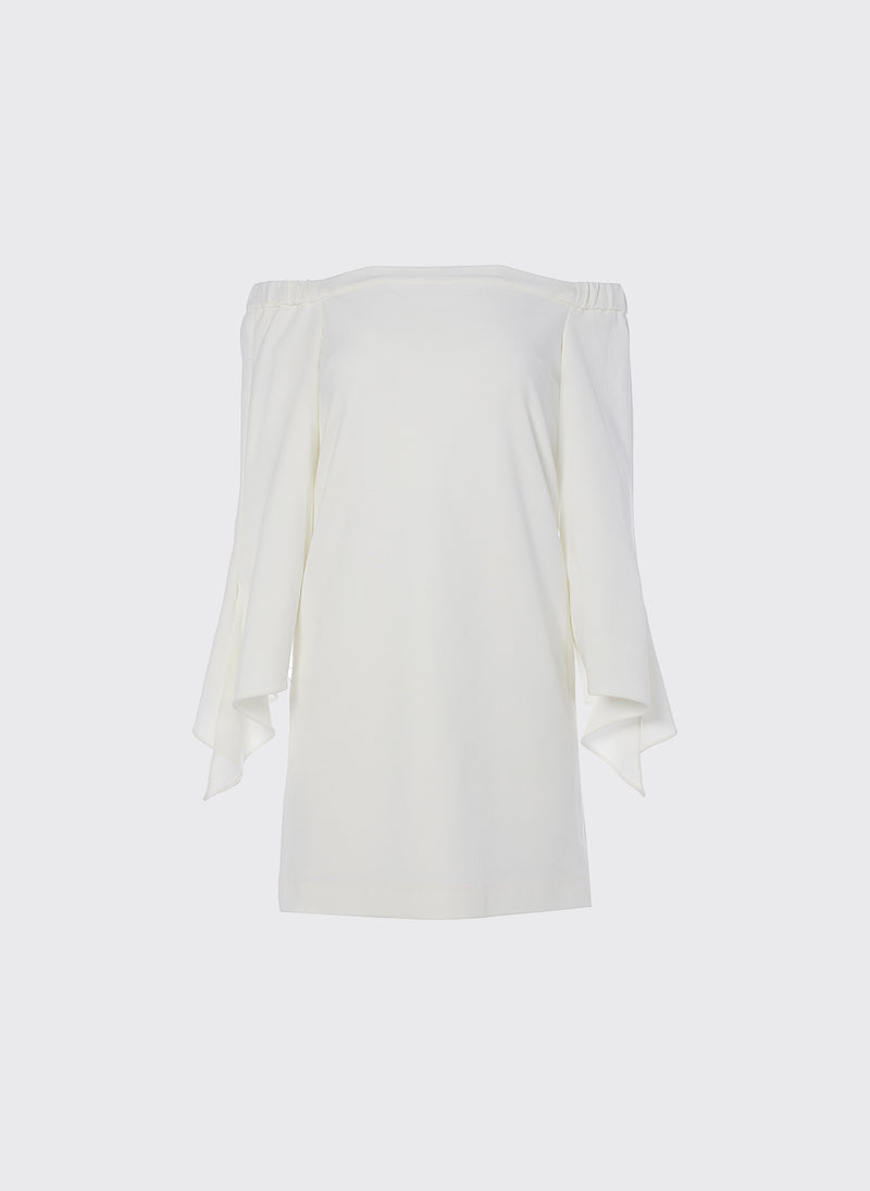 Structured Crepe Off-the-Shoulder Dress Ivory-8