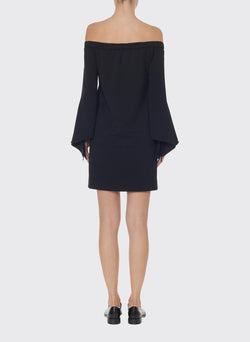 Structured Crepe Off-the-Shoulder Dress Black-2