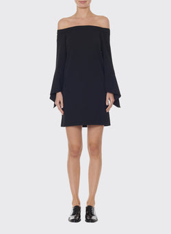 Structured Crepe Off-the-Shoulder Dress Black-1