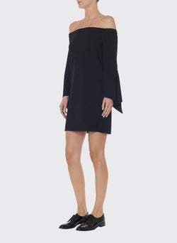 Structured Crepe Off-the-Shoulder Dress Black-3