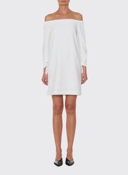 Structured Crepe Off-the-Shoulder Dress Ivory-5