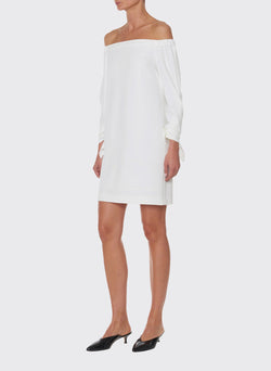 Structured Crepe Off-the-Shoulder Dress Ivory-7
