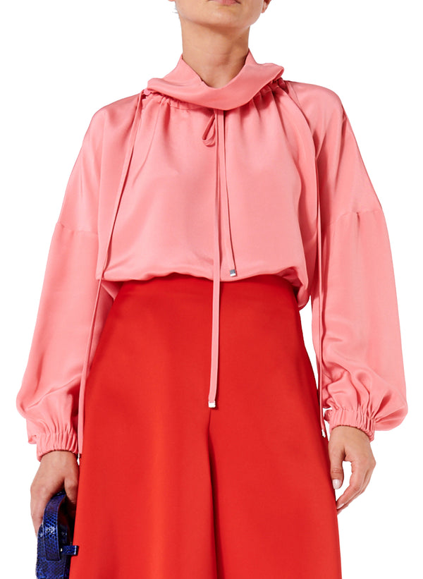 Silk Drawstring Ruched Top