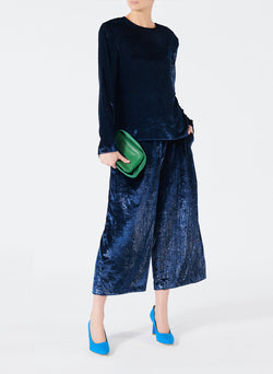 Velvet Lurex Stella Cropped Wide-Leg Pants Navy-5