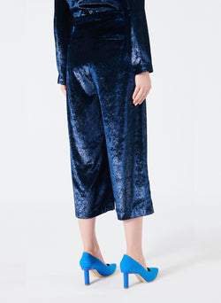 Velvet Lurex Stella Cropped Wide-Leg Pants Navy-3