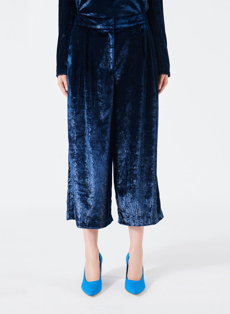 Velvet Lurex Stella Cropped Wide-Leg Pants Navy-1