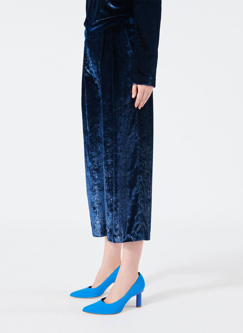 Velvet Lurex Stella Cropped Wide-Leg Pants Navy-2