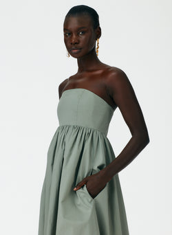 Eco Poplin Strapless Cocoon Dress Eco Poplin Strapless Cocoon Dress