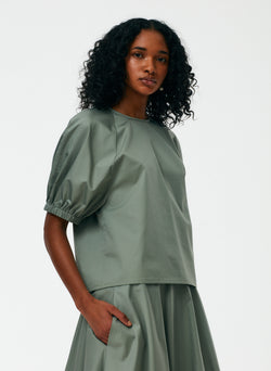 Eco Poplin Shirred Sleeve Top Eco Poplin Shirred Sleeve Top