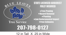 Load image into Gallery viewer, Blue Leaves Tree Service Large Vinyl Decal