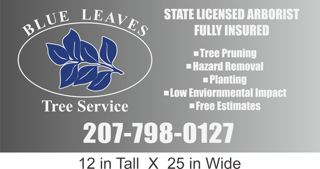 Blue Leaves Tree Service Large Vinyl Decal
