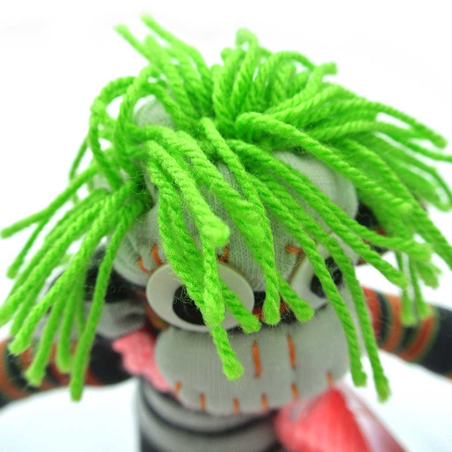 Woza Moya Handmade Upcycled Sock Monkey Cuddle Toy One of a Kind Black and Red With Hair