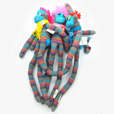 Woza Moya Handmade Upcycled Sock Monkey Cuddle Toy One of a Kind Grey With Crazy Awesome Hair