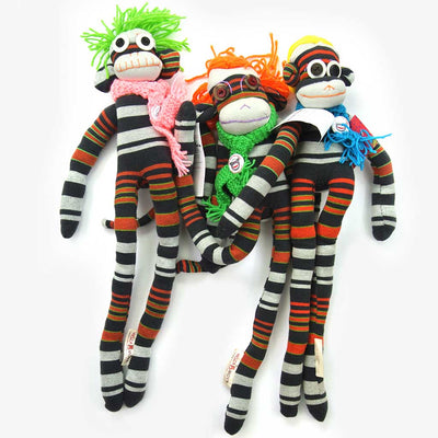 Woza Moya Handmade Upcycled Sock Monkey Cuddle Toy One of a Kind Black and Red With Crochet Hat