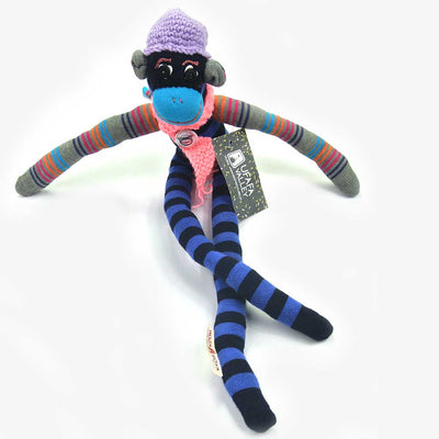 Woza Moya Handmade Upcycled Sock Monkey Cuddle Toy One of a Kind Black and Blue With Crochet Hat