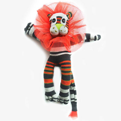 Woza Moya Handmade Upcycled Sock Lion Cuddle Toy One of a Kind multi Color Black and Red