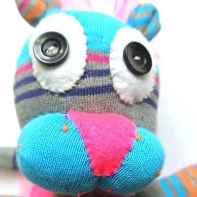 Woza Moya Handmade Upcycled Sock Lioness Cuddle Toy One of a Kind multi Color Blue and grey