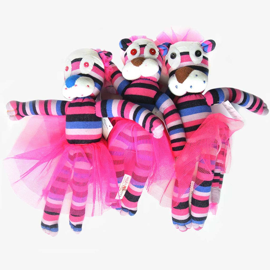 Woza Moya Handmade Upcycled Sock Lioness Cuddle Toy One of a Kind multi Color Pink and Purple
