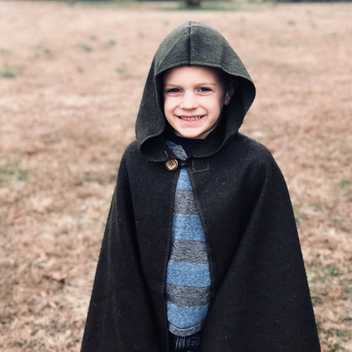 Green Hooded Wool Cloak