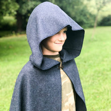 Load image into Gallery viewer, Dark Blue Hooded Wool Cloak