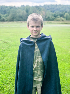 Dark Blue Hooded Wool Cloak