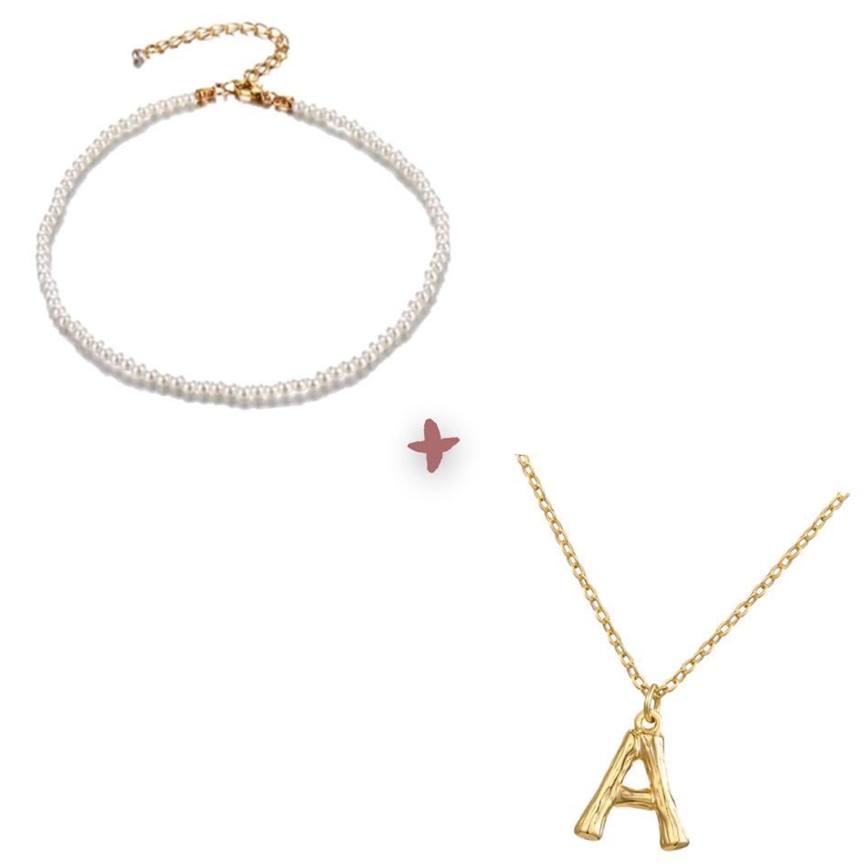 OLIVIA PEARL CHOKER + GABI INITIALS NECKLACE SET