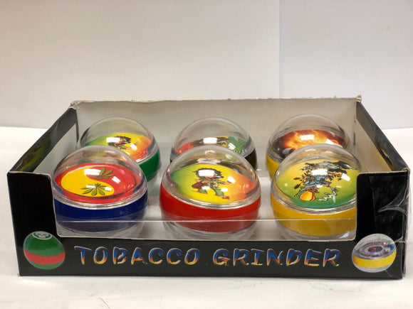 TOBACCO GRINDER - BALL SHAPE  3 PARTS - RAINBOW COLOR WITH CHARACTER