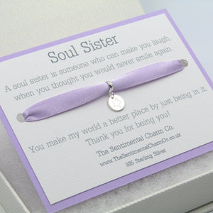0208 Soul Sister Charm Sterling Silver 925 Made Me Smile Quote Gift