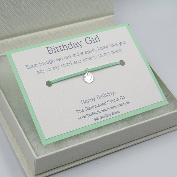 0389 Birthday Girl Long Distance Sterling Silver 925 Bracelet Friendship Charm Quote Gift
