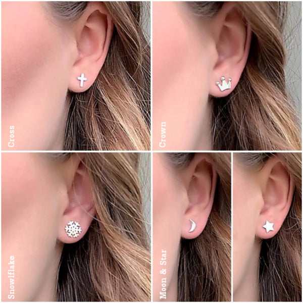 Sterling Silver Heart Stud Earrings for Auntie Complete with Gift Box