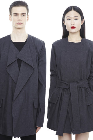 CA191BKD : UNISEX LONG BELTED CARDIGAN
