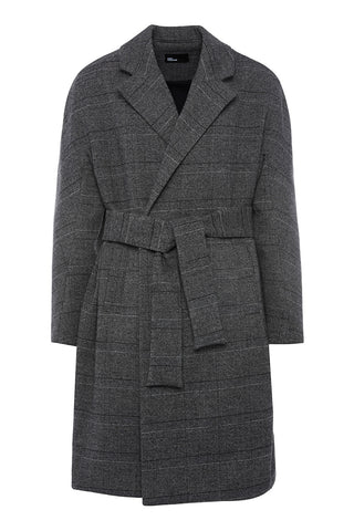 CO996PLAID - UNISEX BELTED COAT