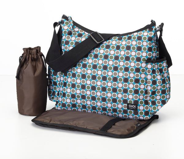OiOi Essential Bionic Dot Turq Hobo Nappy Bag - Babybirdie