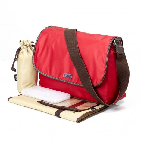 OiOi Red Twill Nappy Bag - Babybirdie