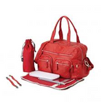 OiOi RED Faux Lizard Carryall Nappy Bag - Babybirdie