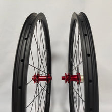 Load image into Gallery viewer, 29ER carbon fiber bike wheels MTB wheels 33mm width thru axle Asymmetric rim