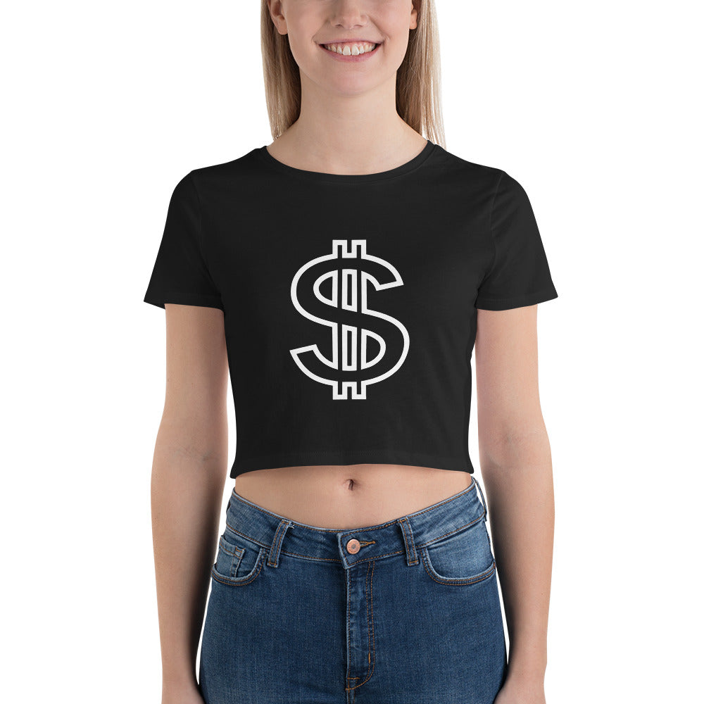 Women's Crop Top with Dollar-Sign Design