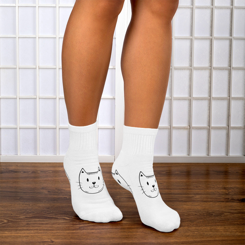 Ankle Socks with Cat Design