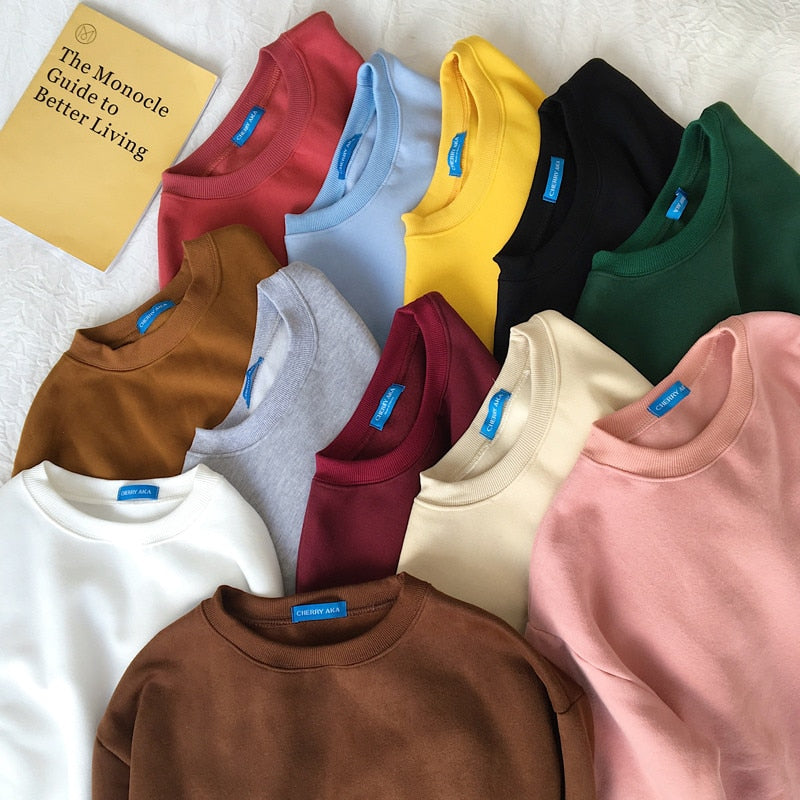 Solid Color Harajuku Sweatshirts
