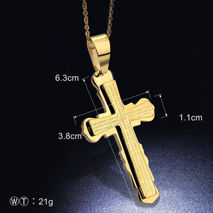 Gold Christian Cross Stainless Steel Necklace
