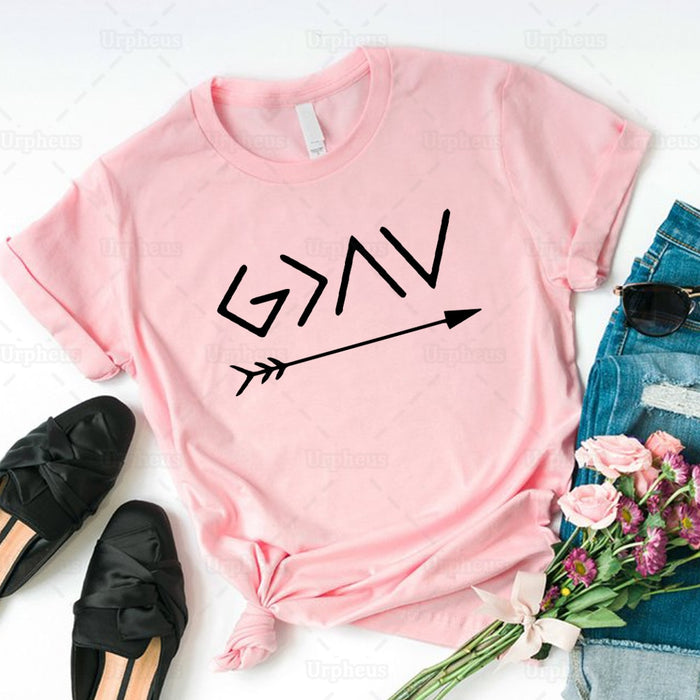 """God Is Greater Than The High and The Lows"" Christian T-Shirt"
