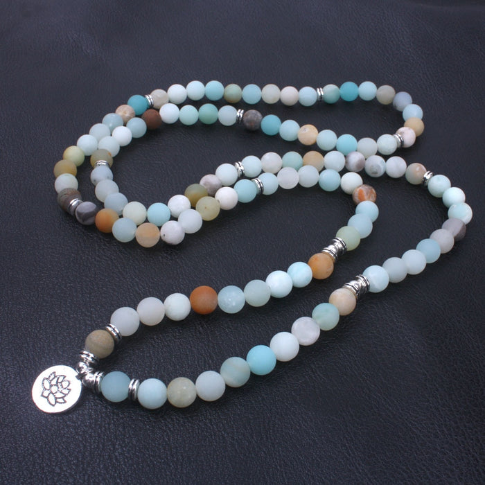 Matte Frosted Amazonite Beads Chinese Charm Bracelet/Necklace