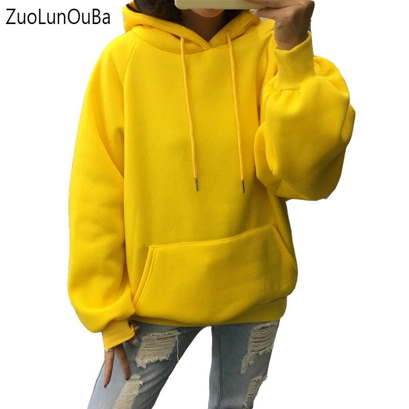 Solid Color Women's Fleece Hoodies