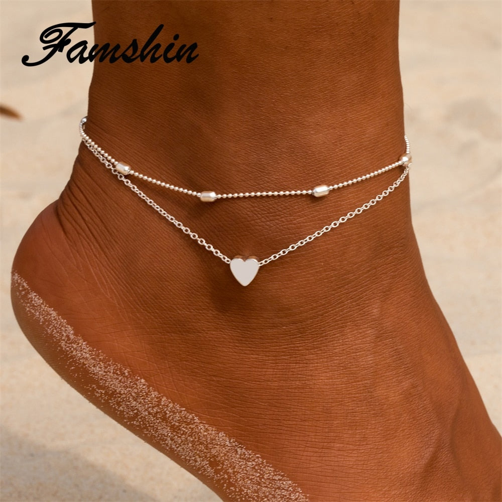 Gold Heart Anklets